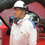 Wearing a 3M coverall with helmet and respirator at Convention with 600 Lyreco account managers in Liverpool