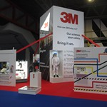 mannequin-man performming as a Living Mannequin: Wearing a 3M coverall Cromwell live18 at the NEC Birmingham