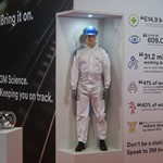 Standing on the 3M stand wearing a 3M disposable coverall surprising visitors to Cromwell live 2018 at the NEC Birmingham