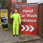 mannequin-man performming as a Mechanical Mannequin: Reprising the role of the Mechanical Waving Mannequin at the American Car Wash  for American Car Wash on 11/06/2016