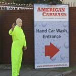 mannequin-man performming as a Mechanical Mannequin: American Car Wash Waving Dummy for American Car Wash on 15/10/2011
