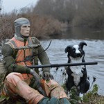 mannequin-man performming as a Living Mannequin: The mannequin just a couple of months ago, slightly faded clothing but still scaring off the cormorants  for Angling Trust on 24/01/2020