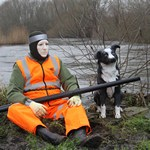 mannequin-man performming as a Living Mannequin: Mannequin man taking the place of one of the many mannequins used by the Angling Trust to humanely combat the problem of Cormorants devastating fishing stocks by providing a simulated human presence for Angling Trust on 24/01/2020