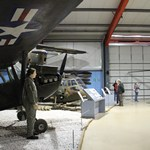 mannequin-man performming as a Museum Dummy: Mannequin man at the Army Flying Museum surprising the visitors as an helicopter pilot mannequin for the museum's reopening for Army Flying Museum  on 10/04/2019
