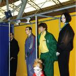 mannequin-man performming as a Living and Real Mannequin: mannequin man on Sunlight stand amongst other mannequins wearing faithful club drivers jacket and trousers for Sunlight on 22/09/1993