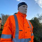 Substituted for an Angling Trust mannequin that's pretending to be a human that's helping to humanely keep the cormorants away from angling fish stocks on  the Hampshire Avon.