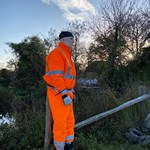 mannequin-man performming as a Living Mannequin: Substituted for an Angling Trust mannequin that's pretending to be a human that's helping to humanely keep the cormorants away from angling fish stocks on  the Hampshire Avon. for Angling Trust on 26/10/2020