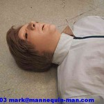 mannequin-man performming as a CPR Dummy: danny cpr mannequin being used in basic life support course, Danny can also be used in casualty simulation exercises for West Mids Fire Service on 28/03/2003