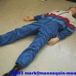 mannequin-man performming as a CPR Dummy: danny cpr mannequin being used in basic life support course, Danny packs away after use into the suppiled carry case (Not Shown) for West Mids Fire Service on 28/03/2003