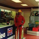 Crownlea Shop, Standing in Shop	Wore Red Boilersuit Used Stand