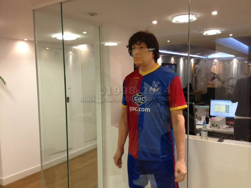 Hired to stand in the reception display cabinet taking the place of the mannequin, wearing Crystal Palace football kit . Crystal Palace Football Kit Mannequin