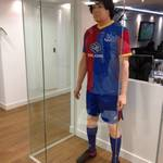 mannequin-man performming as a Living Mannequin: Hired to stand in the reception display cabinet taking the place of the mannequin, wearing Crystal Palace football kit  for Crystal Palace FC on 22/02/2014