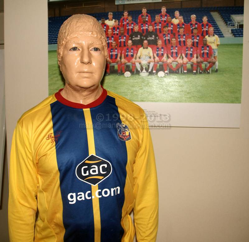 Mannequin man hired to stand in the Foyer wearing Football kit and give the cheerleaders a scare - Crystal Palace Football Kit Mannequin