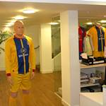 mannequin-man performming as a Living Mannequin: Mannequin man hired to stand in the Foyer wearing Football kit and give the cheerleaders a scare for Crystal Palace FC on 16/02/2013