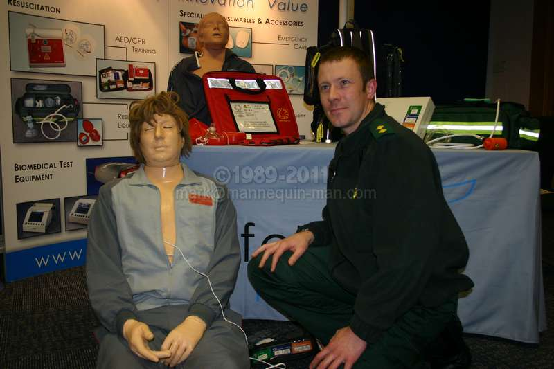 danny CPR, the worlds most lifelike cpr training dummy on the Lifetec Medical Stand at the Festival of First Aid 2008. danny-CPR Manikin with paramedic