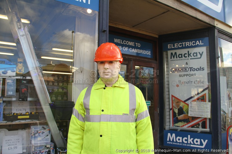 Mannequin-man reprising the role of Dickie Mackay, the Dickies work wear clothing sponsored mannequin that stands outside Mackays in Cambridge through rain shine and snow - Dickie Mackay Mannequin Mackays Cambridge Christmas Real Deals Window