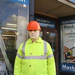Mannequin-man reprising the role of Dickie Mackay, the Dickies work wear clothing sponsored mannequin that stands outside Mackays in Cambridge through rain shine and snow
