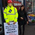 mannequin-man performming as a Living Mannequin: Dickie outside the Mackays shop for Mackays on 23/08/2014