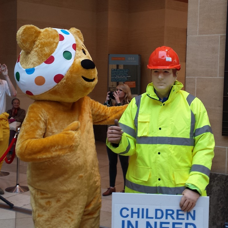 Performing as Dickie Mackay the Mannequin at the grand parade shopping centre performing for Children in Need - mannequin man with Pudsey Bear