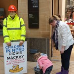mannequin-man performming as a Living Mannequin: Performing as Dickie Mackay the Mannequin at the grand parade shopping centre for Children in Need