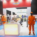 mannequin-man performming as a Living Mannequin: Mannequin-man on the Dickies stand at the National Merchant Buying Society Trade Exhibition at the Ricoh Arena Coventry for Dickies UK Ltd on 05/04/2017