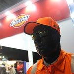 Mannequin-man on the Dickies stand at the National Merchant Buying Society Trade Exhibition at the Ricoh Arena Coventry