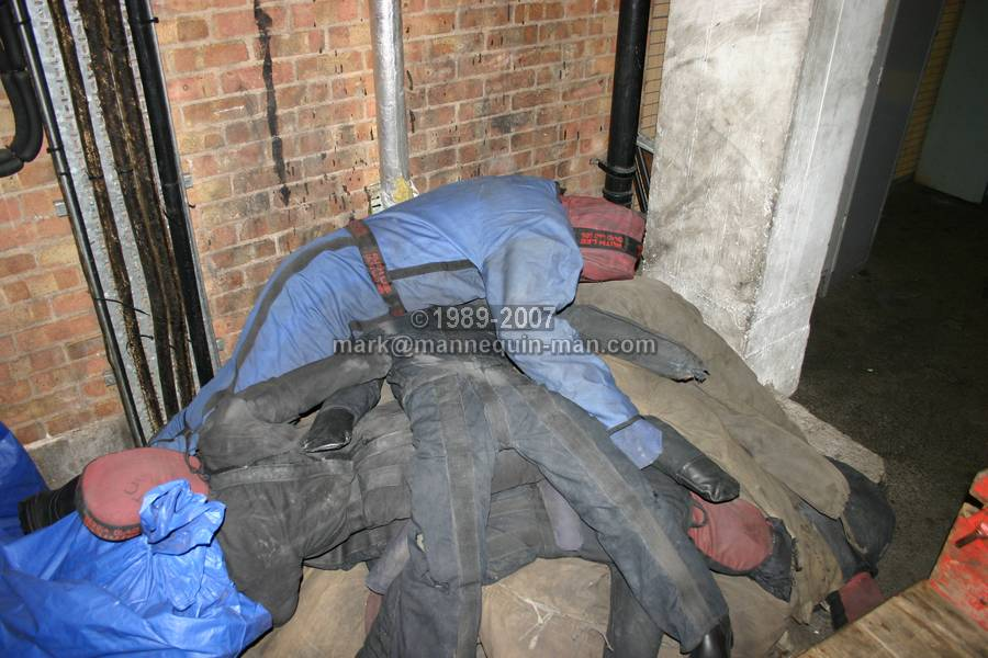 A pile of Fire Drill Training Drag dummy at West Midlands Fire Service (WMFS) Brigade Training Centre (BTC). drag dummy Brigade Training Centre West Midlands Fire Service BTC, Smethwick