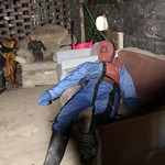 mannequin-man performming as a Museum Dummy: Fire Drag Dummy comes alive and gives visitors a shocking scare during Halloween tour prank for Essex Fire Museum on 30/10/2015