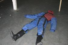 mannequin-man performming as a drag dummy: ruthlee drag drill dummy lying on floor for Event Fire & Rescue on 02/04/2005