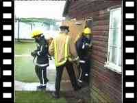 mannequin-man drag dummy: Training exercise removing dummy casualty from smoke filled building using breathing apparatus, trainees were unaware that the dummy was real at Event Fire & Rescue Fire Training Drag Dummy for Event Fire & Rescue on 20/11/2004