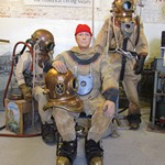 mannequins wearing Canvas diving suits at the Diving Museum Gosport