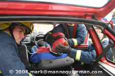 mannequin-man performming as a drag dummy: Being used in extrication training from a crashed vehicle for West Mids Fire Service on 10/05/2004