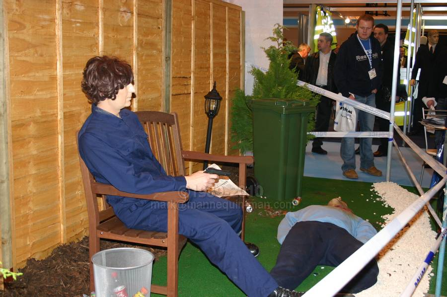 Standing in as a dummy victim on the Forensic Alliance stand at ACPO 2004 - Living Mannequin Safety & Health Expo NEC