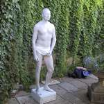 mannequin-man performming as a Human Statue: Human Statue as Greek Garden Statue at Wedding Eastwell Manor,Ashford,Kent for Wedding on 24/08/2002