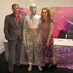 "Mannequin-man as a contestant in the fictitious ""Britain's Got Human Statues - Series 19"" sketch on ITV2's Glitchy. With Ryan Sampson, Gabby Best and Colin Hoult"