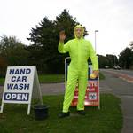 mannequin-man performming as a Mechanical Mannequin: Waving car wash mannequin - Gosport for Feathercrest Services Limited on 24/09/2011
