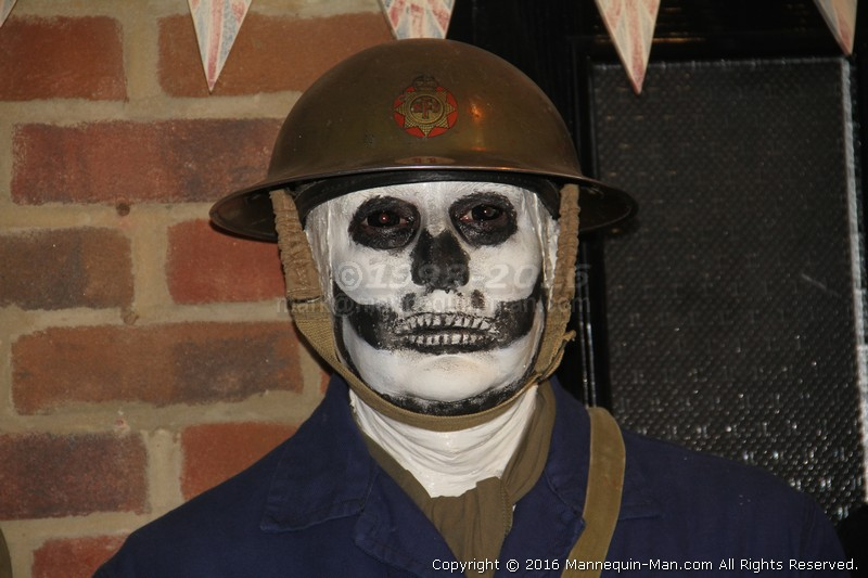 Halloween event at the Essex Fire Museum, Mannequin man scaring the visitors as a spooky skeleton ARP warden - Halloween Spooky Skeleton Living Mannequin At The Essex Fire Museum