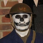 Halloween event at the Essex Fire Museum, Mannequin man scaring the visitors as a spooky skeleton ARP warden