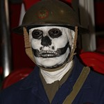 mannequin-man performming as a Museum Dummy: Halloween event at the Essex Fire Museum, Mannequin man scaring the visitors as a spooky skeleton ARP warden for Essex Fire Museum on 28/10/2016