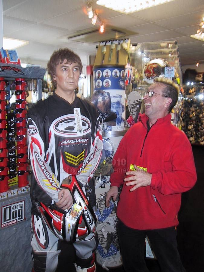 Living Mannequin at a Hein Gericke Shop Promotion wearing Motor Cross Gear with customer - Living Mannequin Hein Gericke Shop Promotion Gants Hill
