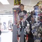 mannequin-man performming as a Living Mannequin: Living Mannequin at a Hein Gericke Shop Promotion wearing Motor Cross Gear for Hein Gericke on 01/04/2002