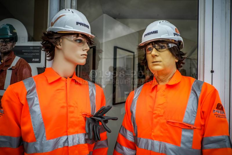 This was for the official launch of PRIME by the Institute of Quarrying at Hillhead Buxton, all mannequins wearing Orange Hi-vis Prime Coveralls - Two mannequins one real, Institute of Quarrying at Hillhead