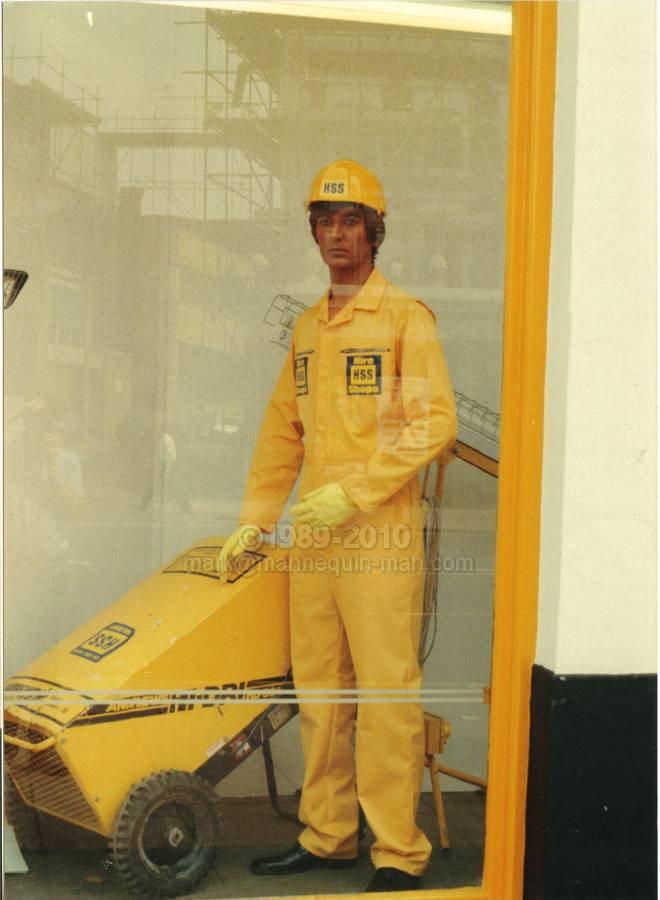 Mannequin man's first time as a living shop window display dummy mannequin in the HSS Hire Shop in Hackney London 1989. Living Mannequin HSS Hackney, London