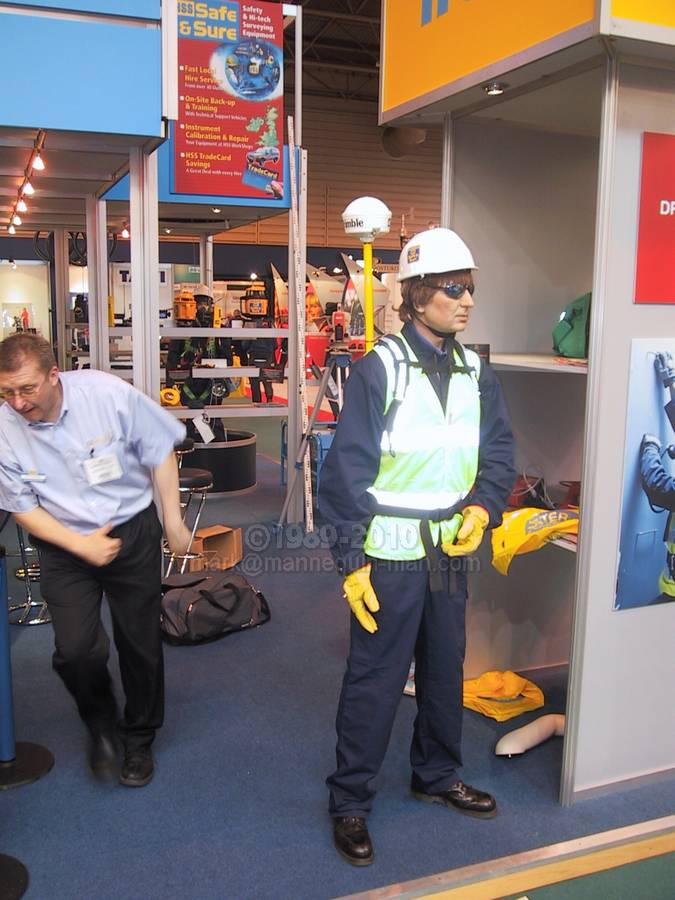 Exhibition Stand Health And Safety : Mannequin man at the safety health expo standing on