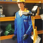 mannequin-man performming as a Living Mannequin: mannequin man standing in storage area in HSS hire shop for HSS on 14/05/1994