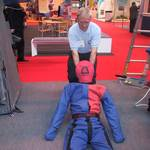 mannequin-man performming as a drag dummy: Mannequin man the living dummy, acting as a rescue training drag dummy on the International Rescue Corps stand for International Rescue on 19/05/2003