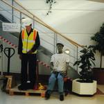 mannequin-man performming as a Living Mannequin: Competition to fit the harness to the mannequin for Arco on 26/09/1997