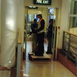 mannequin-man performming as a Living Mannequin: mannequin man being wheeled out to the central display area for Arco on 26/09/1997
