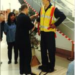 mannequin-man performming as a Living Mannequin: Open day for MW Kellogg Ltd for Arco on 26/09/1997