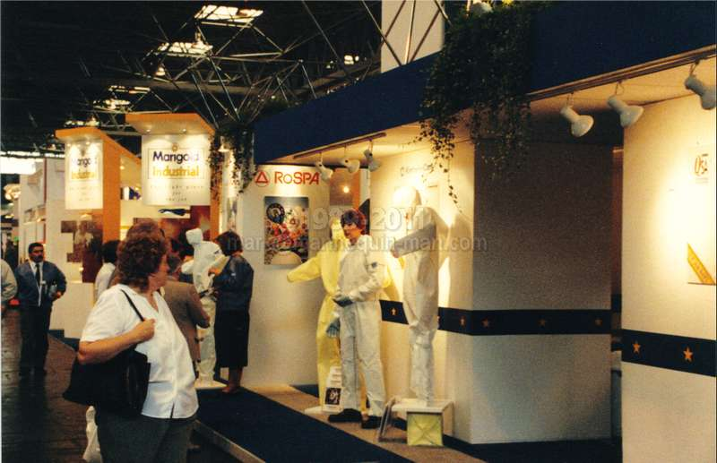 mannequin man at RoSPA with onlooker wearing white disposable overall - Living Mannequin RoSPA NEC